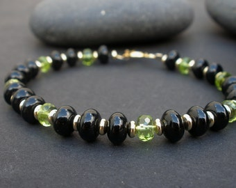 Natural Black Agate Rondelle - Natural Gemstone Peridot Faceted Rondelle  - 14kt Yellow Gold Filled Toggle Clasp Bracelet