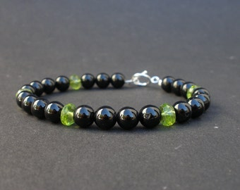 Black Tourmaline Round 7mm - Peridot Faceted Rondell 7mm-- 925 Sterling Silver Toggle Clasp Bracelet