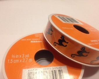 3 yards of black cat on orange ribbon, 5/8 inch wide (HR32)