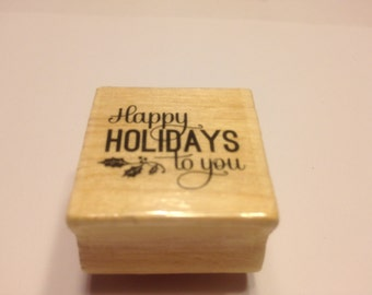 small Happy Holidays to you rubber stamp, 25 mm (BB6)