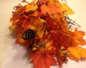 6 stems / picks of Fall leaves orange tones, (BR30)