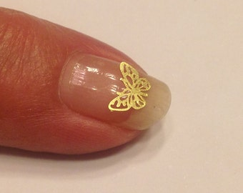 20 pieces of gold metal Butterfly nail decals 6 mm (S8)