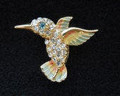 Vintage Bird Brooch, Gold Tone and Enamel with Lots of Rhinestones.  Beautiful Piece in Excellent Condition