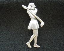 Vintage Golf Brooch.  Lady Golfer.  Jonette Jewelry, Signed JJ, Excellent Condition.