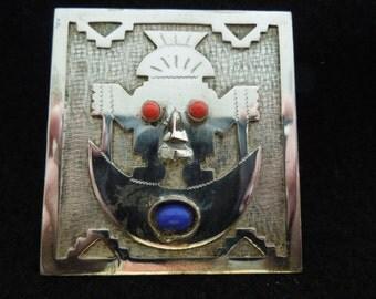 Vintage Silver Pendant From Ecuador, Tribal Mask, 900 Silver