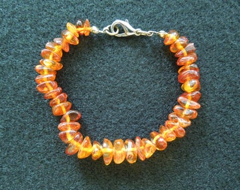 Vintage Amber Bracelet, 6 Inches on String, Amber Chips and Clasp, Excellent Condition.