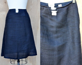 LINEN Skirt - A line Skirt - BICHE De BERe Paris Blue Linen Skirt with front & back Metal Detail High End French Designer made in France Xs