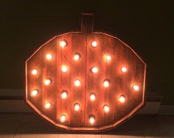 Lighted 30in Pallet Pumpkin