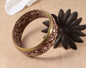 Wide Bangle Bracelet Brown with Inlaid Shell