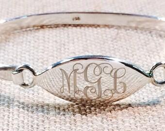 Sterling Silver Oval Monogrammed Initials Bracelet