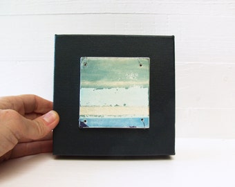 SALE. Horizon.   Polaroid Image Transfer Printed On Hand-Built Fired Ceramic Slab Sewn With Wire Onto 5 X 5 Inch Canvas.  Horizon Fragment.