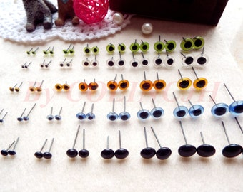 10pairs Safety Eyes Samples Glass Eyes Colorful Doll Accessories 3mm/4mm/5mm/6mm/7mm/8mm/9mm/10mm/12mm