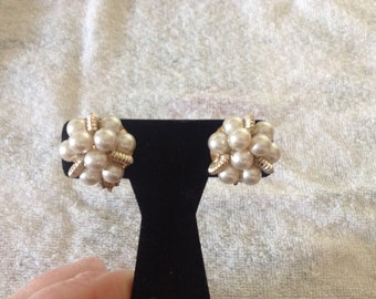Vintage Goldtone and Faux Pearl Clip On Earrings, 1'' Diameter