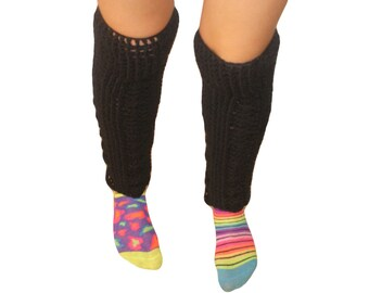 Leg Warmers Women, Boot Sock, Long Legwarmers, Plus Size Leg Warmer, Black Leggings, Legwarmers Knit, Black LegWarmers, Knee Boot Socks