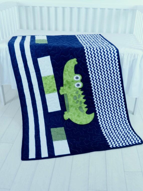 Alligator Blanket, Baby Boy Blanket, Navy Stripes, Preppy Quilt Blanket, Madras Alligator Blanket,  Baby Boy Room,  Navy Chevron Quilt
