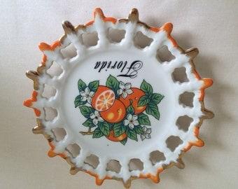 Vintage Porcelain Florida Souvenir Plate, Kitschy Florida Plate