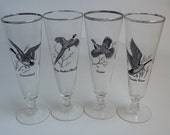 Vintage Sportsman Pilsner Beer Glasses Black Game Birds  Platinum Rims Libby Mid-century