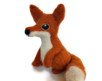 Felted Fox Sculpture, Red Fox Miniature Art Doll