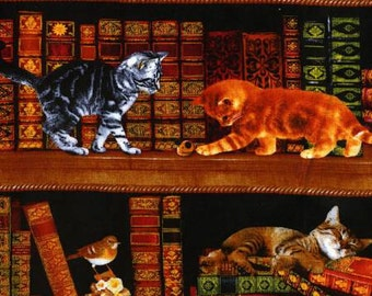 Timeless Treasures fabric LIBRARY CATS