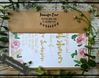 Personalized Name and Address download return address Wedding Shower Bday Calligraphy Typography Invitation DIY Paper Add  order
