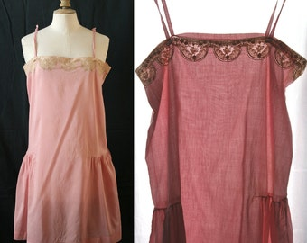 Vintage Lingerie 1920's, Cotton veil and lace, slip dress, nightgown, pink