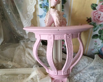 Large Vintage Ornate Syroco Shelf - Paris Pink  Paint - shabby chic - French Country - Paris Apt
