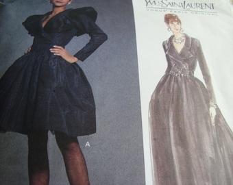 Vintage 1990's Vogue 1277 Paris Original Yves Saint Laurent Evening Dress, Size 8-10-12