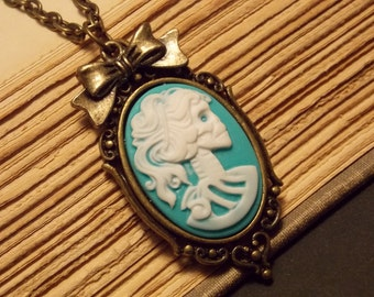 Bronze and Turquoise Day of the Dead Skeleton Necklace