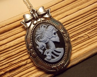 Silver and Blue Skeleton Cameo Necklace