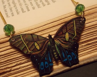 Blue and Green Wooden Butterfly Statement Necklace