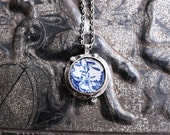 Antique English Porcelain Necklace Sterling Silver Floral Pendant