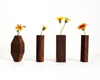 Wood Bud Vase - Hexagon