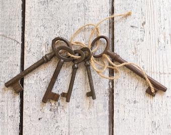 Vintage European Iron Skeleton Keys - Lot Of 5 - Authentic Vintage Keys