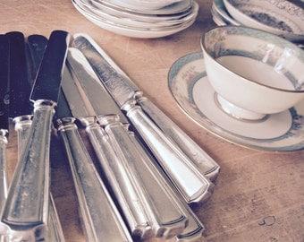 Sterling Silver Knife, Sterling Flatware, Silver Flatware, Engraved Antique Silverware, Silver Knives, Wedding Reception, Craft Supplies