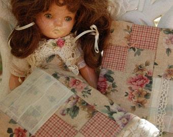 "Bedding for 18"" doll. American Girl Doll.Vintage Doily Doll quilt. Handmade doll quilt with handmade pillow and pillow slip. Doll bedding"