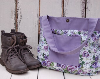 Lavender and White Hobo Bag. Recycled handbag. Recycled Materials purse