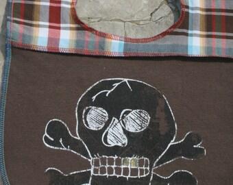 Baby Bibs Bib Kids Children clothes Skull and Cross Bones t shirt recycled clothing