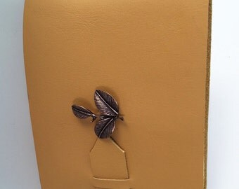 Tan Leather Mini Journal with Camellia Leaf Charm