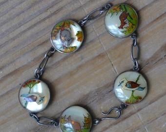 Amazing rare antique art deco sterling silver austraila souvenir bracelet with local animals / koala / kangaroo / kookaburra / SVBWKK