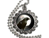 Raven Crow in front of Full Moon Art Pendant, Black Bird Resin Pendant, Photo Pendant Charm Medallion Necklace