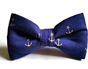 bow tie anchor navy blue nautical sailor boat  baby blue toddler baby childrens kids clip on neck by Brookes & Company