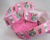 "Starbucks, Starbucks coffee, Coffee lovers, Starbucks coffee cups, grosgrain ribbon, ribbon by the yard, 7/8"" ribbon, RN16114"
