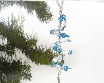 Spiral Blue Beaded Christmas Ornament With Snowflake Charm