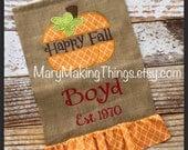 FALL Pumpkin Burlap Personalized Monogrammed Garden Yard Flag