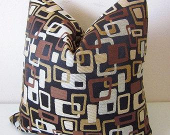Retro Mid Century Modern Pillow Cover Fabricut Geometric Squares Decorative Pillow Cover 60's 70's Pop Culture Mod Mad Men Pillow