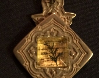 Beautiful Vintage Two Sided Inlay Pendant