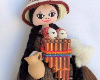 Happy Ecuadorian Doll with Twins - Mouth Harp - Terra Cotta Pitcher and Swaddled Baby - Vintage Global Cultural Ethnic World Decor