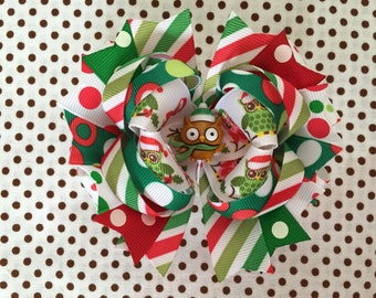 SALE! Ready To Ship Hairbow! Christmas Hairbow, Christmas Owl Hairbow, Christmas Owls Hairbow, Christmas Boutique Hairbow