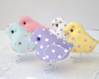 Polka Dot Fabric Birds