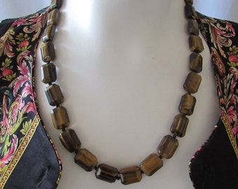 Vintage Tiger's Eye hand tied Beads flat cut retro 1970s